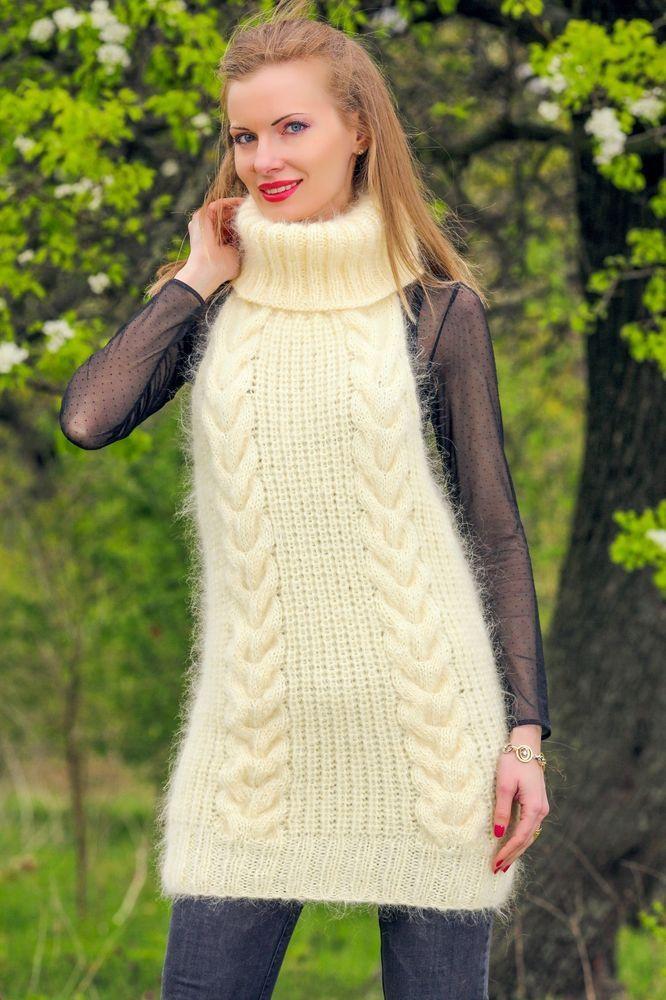 c4b51af2fdb0e Designer ivory handmade sweater sleeveless fuzzy sexy hand knit top  SUPERTANYA  SuperTanya  Turtleneck