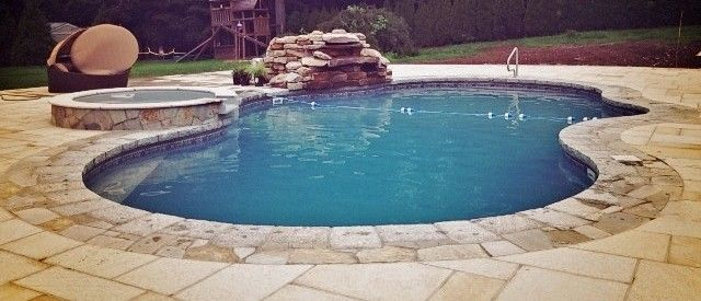 Mountain Lake With Spillover Spa And Waterfall (Inground Pool With Vinyl  Liner) #legacyedition