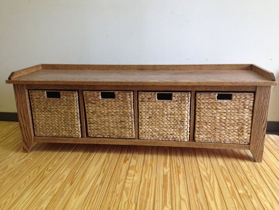 60 Oak Wood Storage Bench With Cubbies For Shoes Or Large Baskets Entryway Mudroom Entry