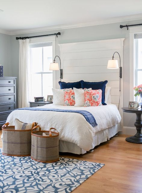 Love The Planked Headboard In This Farmhouse Bedroom