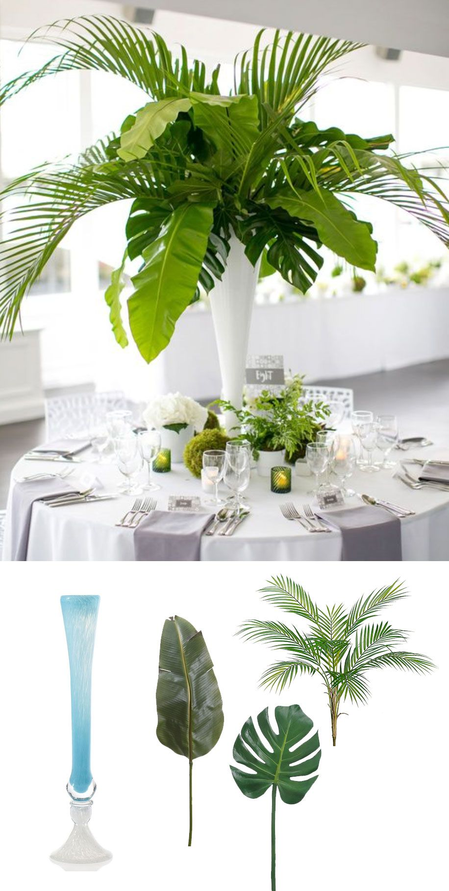 Modern tropical centerpiece recreate this elegant look for for Floral table decorations for weddings