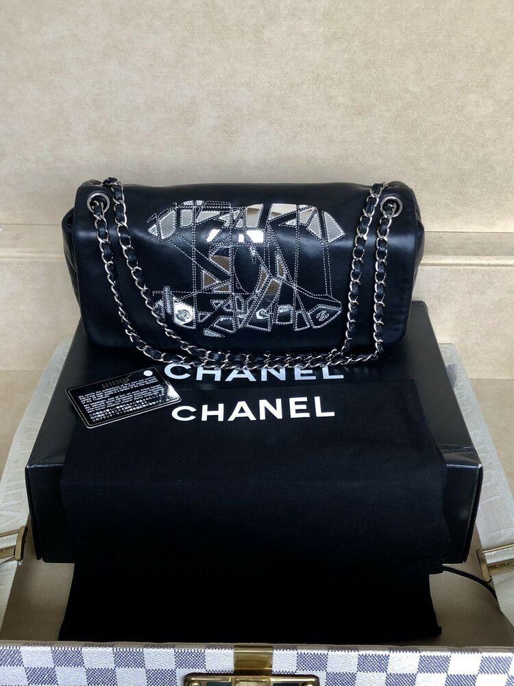 604889178d80 Rare Chanel Limited Black Lambskin Metallic Silver Double Chain Sac Flap Bag