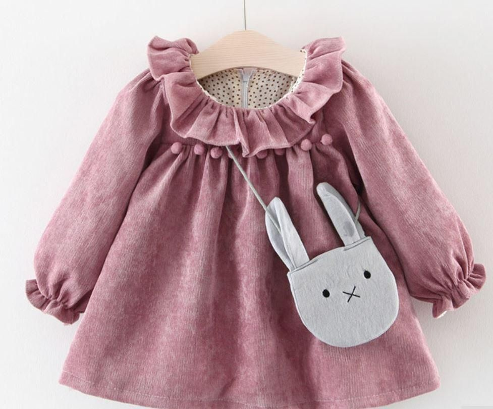 Phoebe Pink Rose Ruffle Neck Cord Baby Girl Dress Baby Stuff