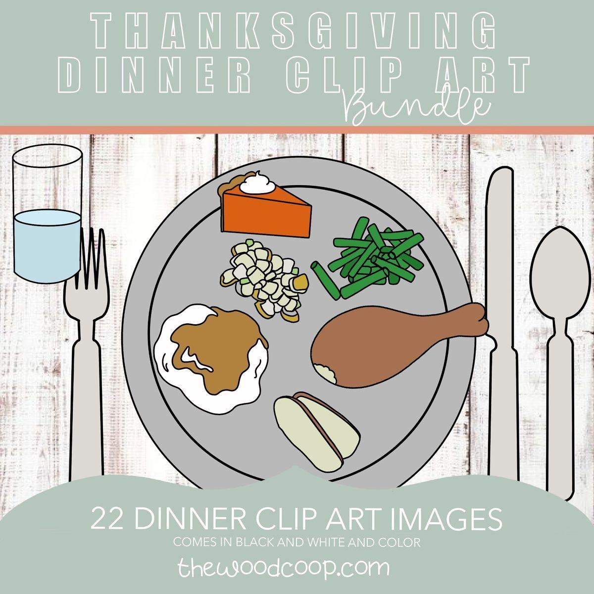 Thanksgiving dinner clip art 22 images (plate, fork, spoon