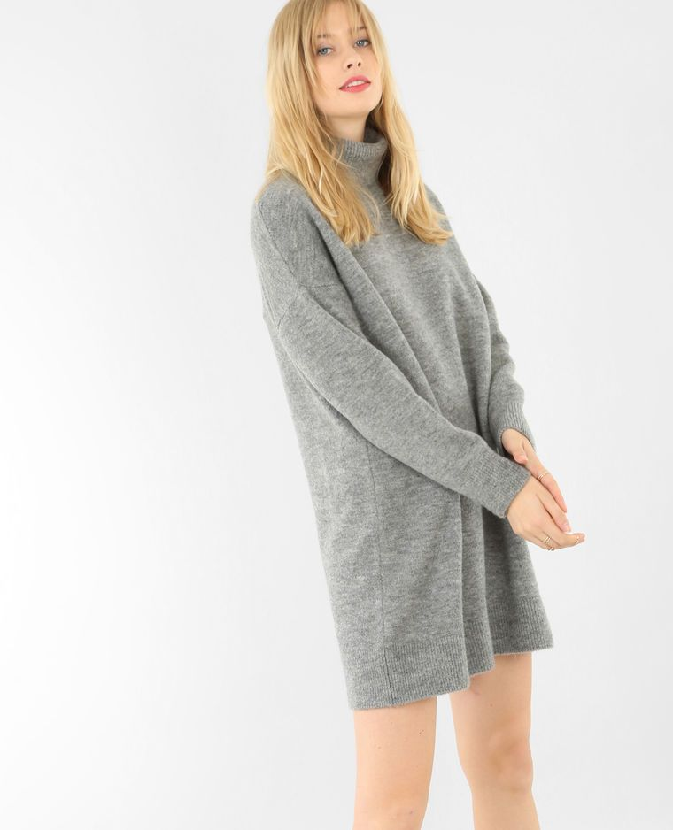 b1ffaa19c Robe pull col roulé gris chiné | solo chompas | Robe pull col roulé ...