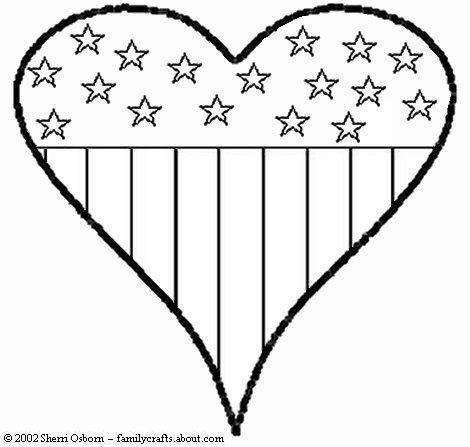 American Flag Heart Coloring Pages Cute Bheart B To Print 3 Bhearts