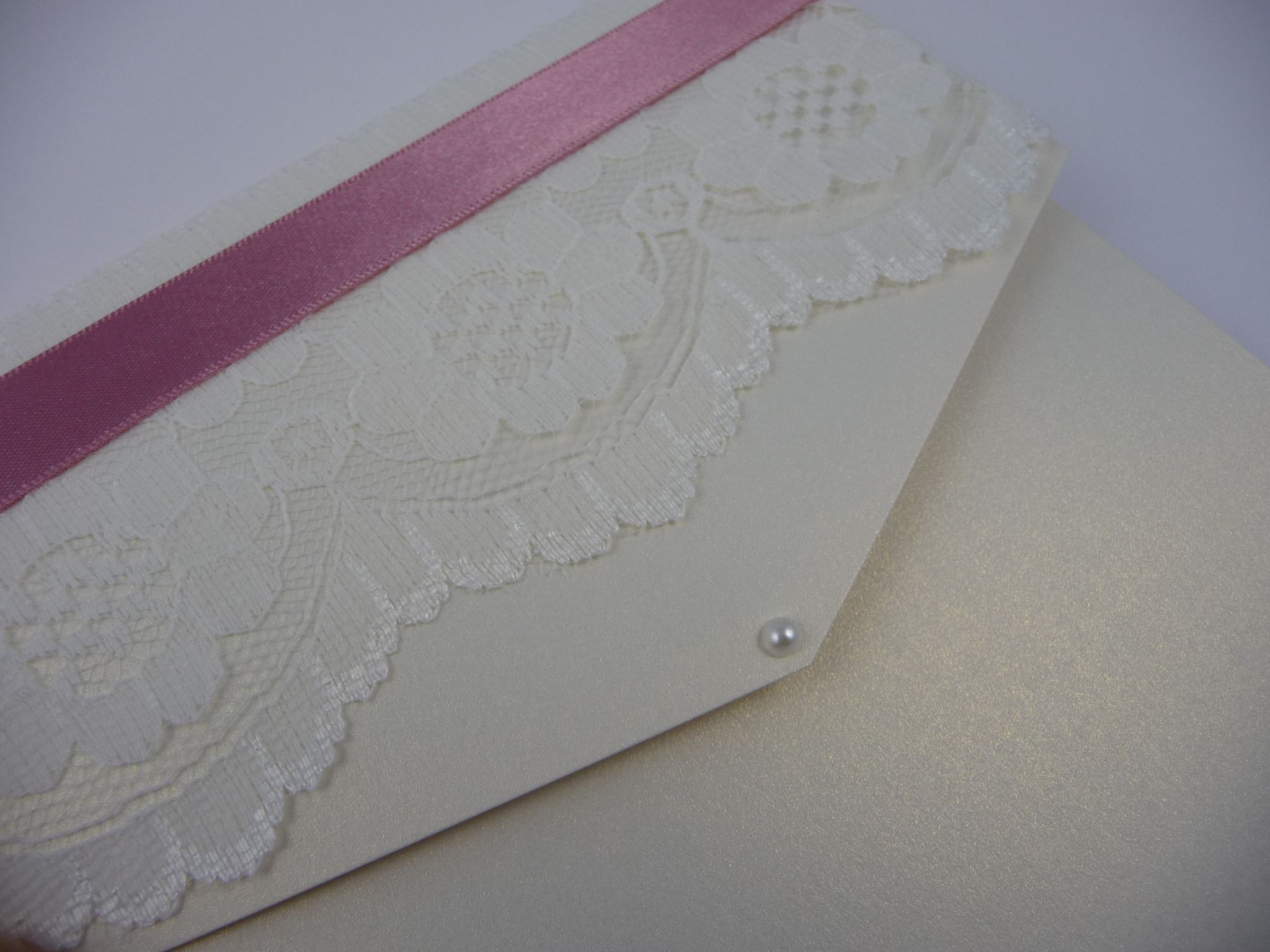 paper style wedding invitations%0A Ivory  Lace and Dusky Pink pocketfold style wedding invitation