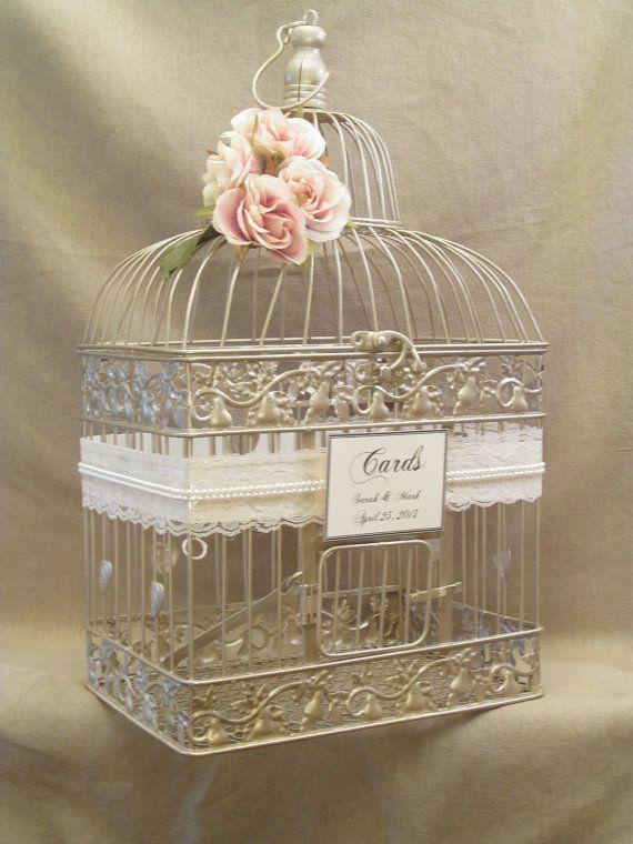 Birdcage Wedding Card Box Champagne Birdcage Pearls Bird – Birdcage Wedding Card Box