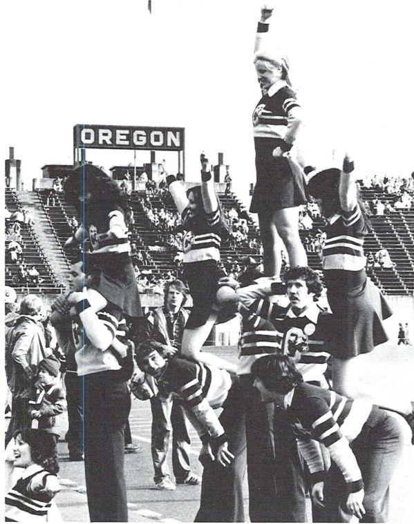 Cheerleaders at Autzen Stadium 1977.  From the 1978 Oregana (University of Oregon yearbook). www.CampusAttic.com