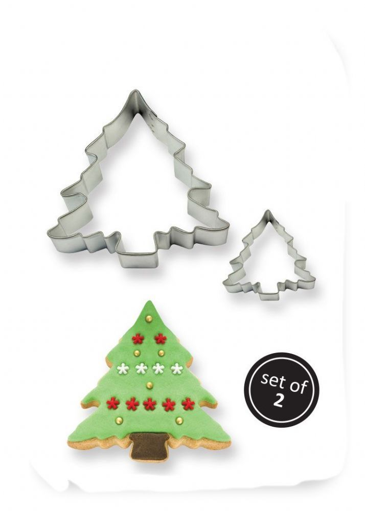 pme cake baking metal christmas tree cookie shape cutter pack of 2 small large - Small Metal Christmas Tree
