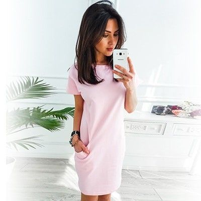 a3d4023f70ef1 O-neck Short Sleeve Solid Party Dress Loose Straight … | Woman ...