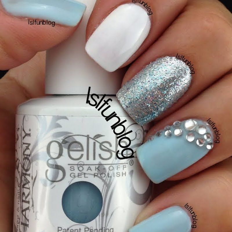 Baby Blue Nails With Rhinestones By Lsl Blue Gel Nails Glitter Gel Nails Baby Blue Nails