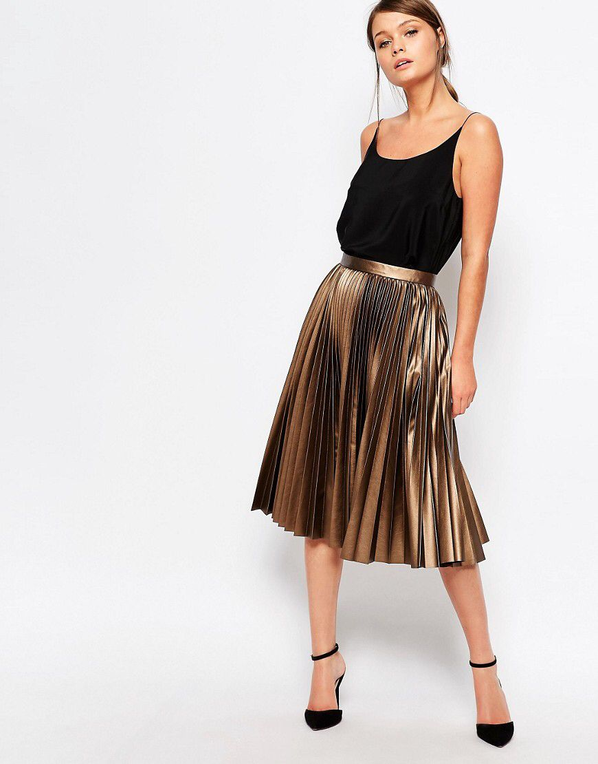 1909519338 Stepping Outfits Brown Skirts, Gold Skirt Outfit, Pleated Skirt Outfit, Pleated  Skirts,
