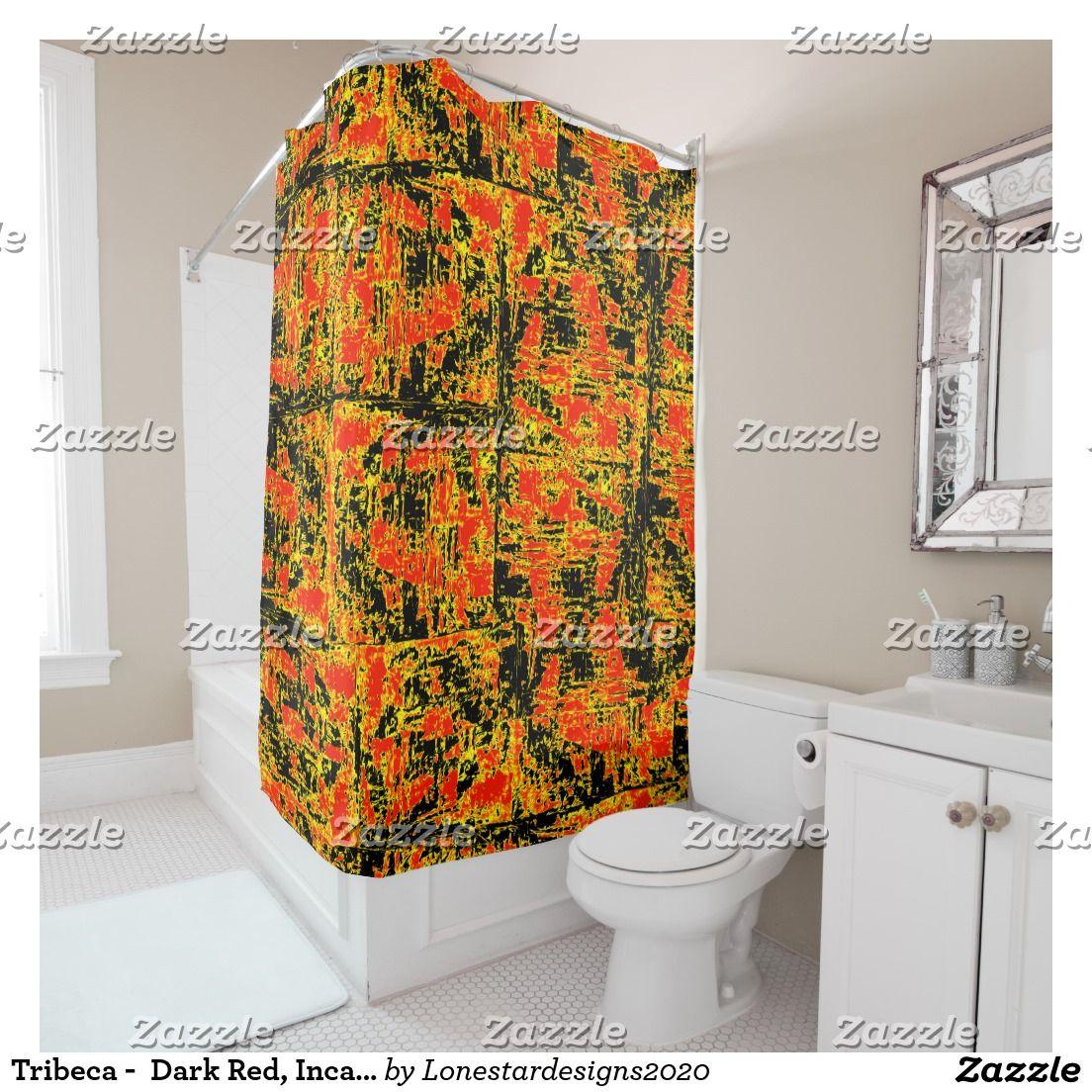 Tribeca - Dark Red, Inca Gold and Ebony Black Shower Curtain   Black ...