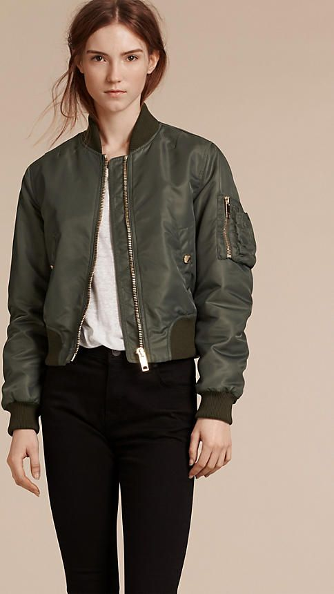 Burberry light khaki padded technical bomber jacket with gently ruched sleeves. Discover the women's outerwear collection at Burberry.com