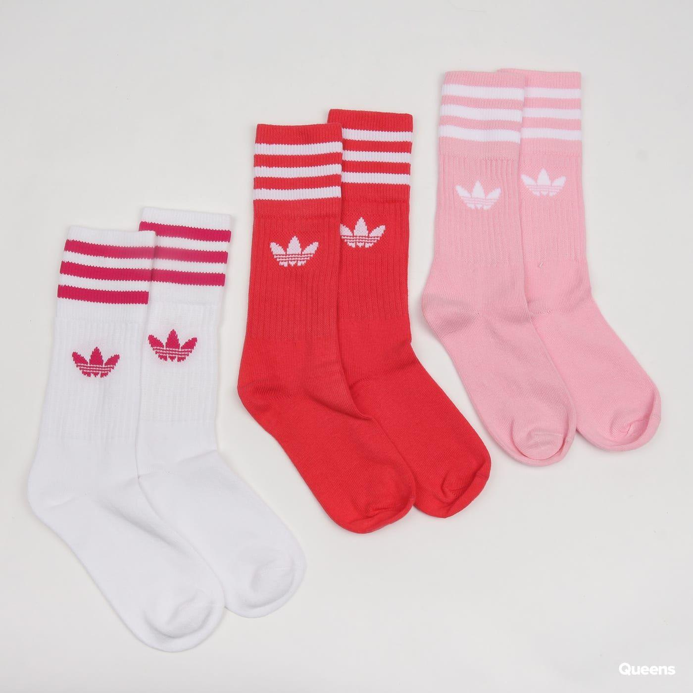 f8fc8ab02cd adidas Originals Solid Crew Sock biele / tmavoružové / ružové za 13 €:  Členkové ponožky