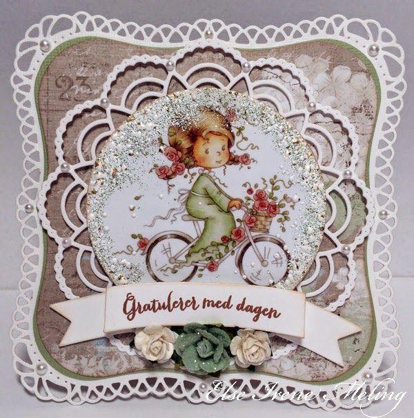 Heisan :-)     Et bursdagskort i dag også ;-) Motivet er ferdig fargelagt fra Wee Stamps og tekst fra Kort og Godt . Papirene er fra Maja D...