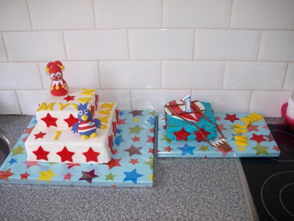 De verjaardagstaart en smash taartje voor het zoontje van Mandy Kool die 1 werd.