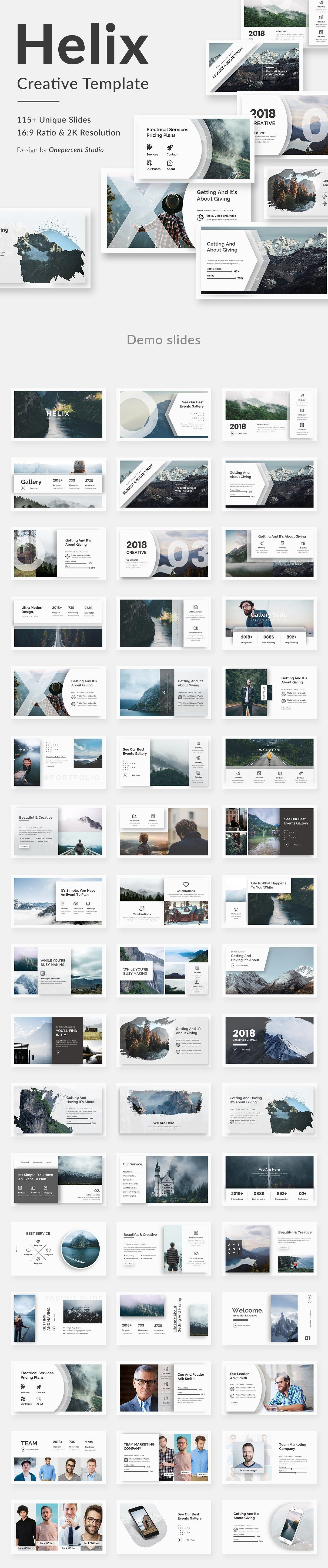 Helix Creative Google Slide Template Easy Font Icons Size New
