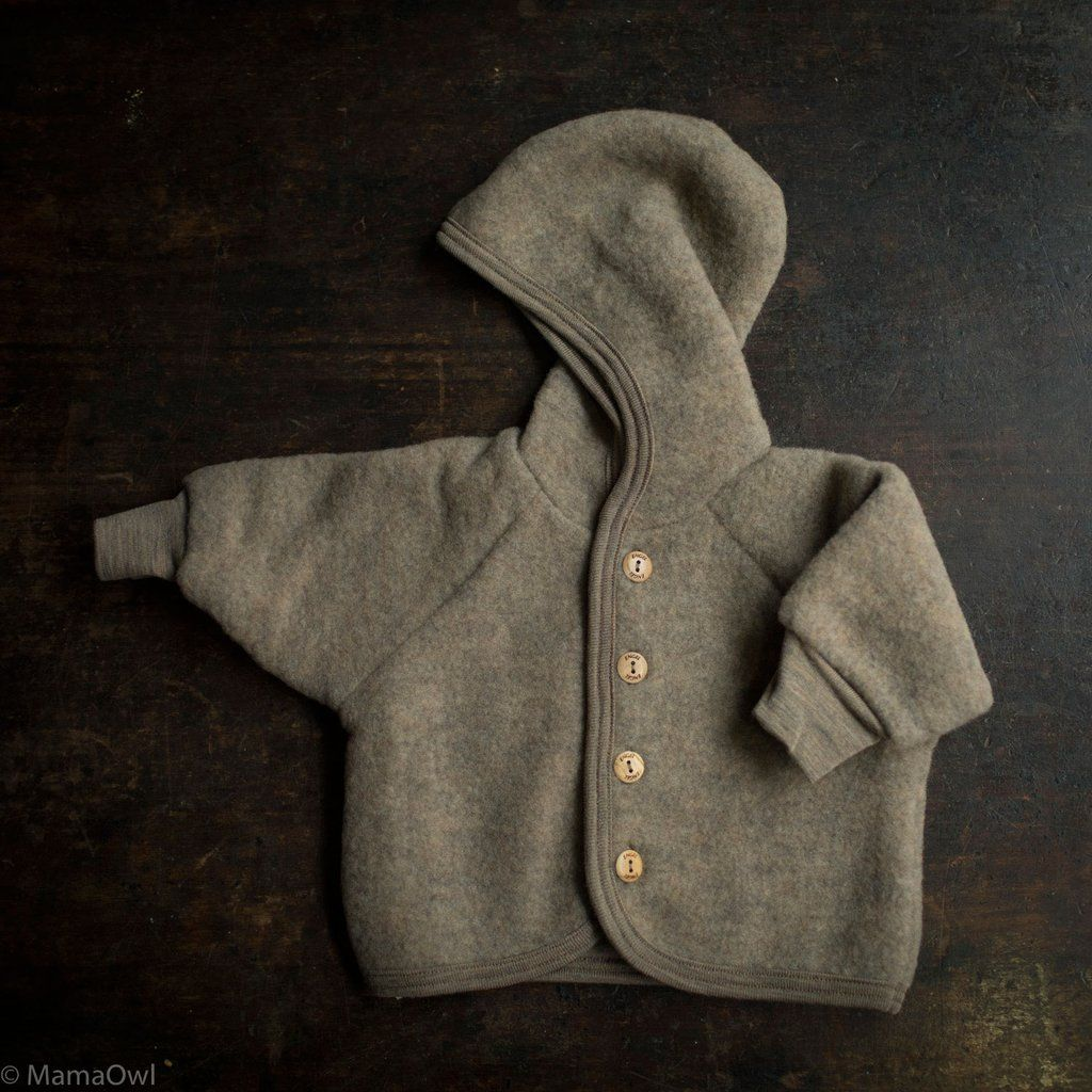 Organic Merino Wool Supersoft Fleece Jacket Walnut Melange Fleece Jacket Soft Jacket Kids Outfits