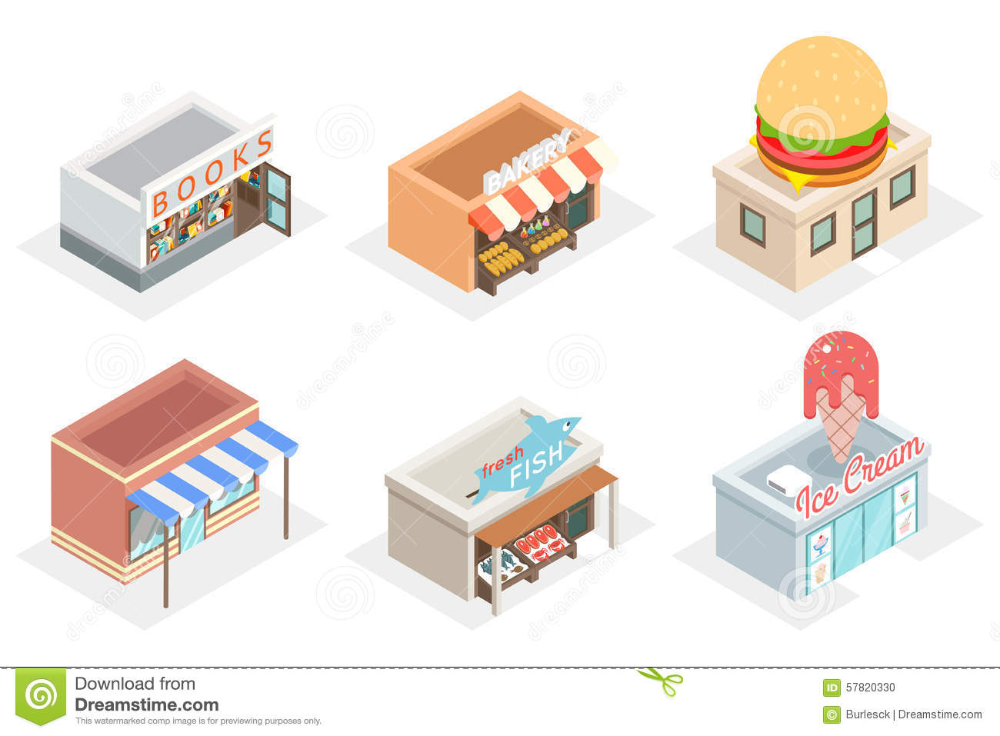 Vector Shops And Stores 3d Isometric Icons Stock Vector Illustration Of Isometric Design In 2020 Isometric Photographer Business Card Template Building Illustration
