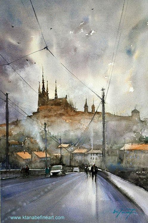 Prague Czech Republic Ii Watercolor By Keiko Tanabe Wwwl