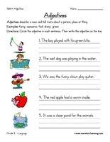 Adjective Worksheet Parts Of Speech Worksheets Adjective