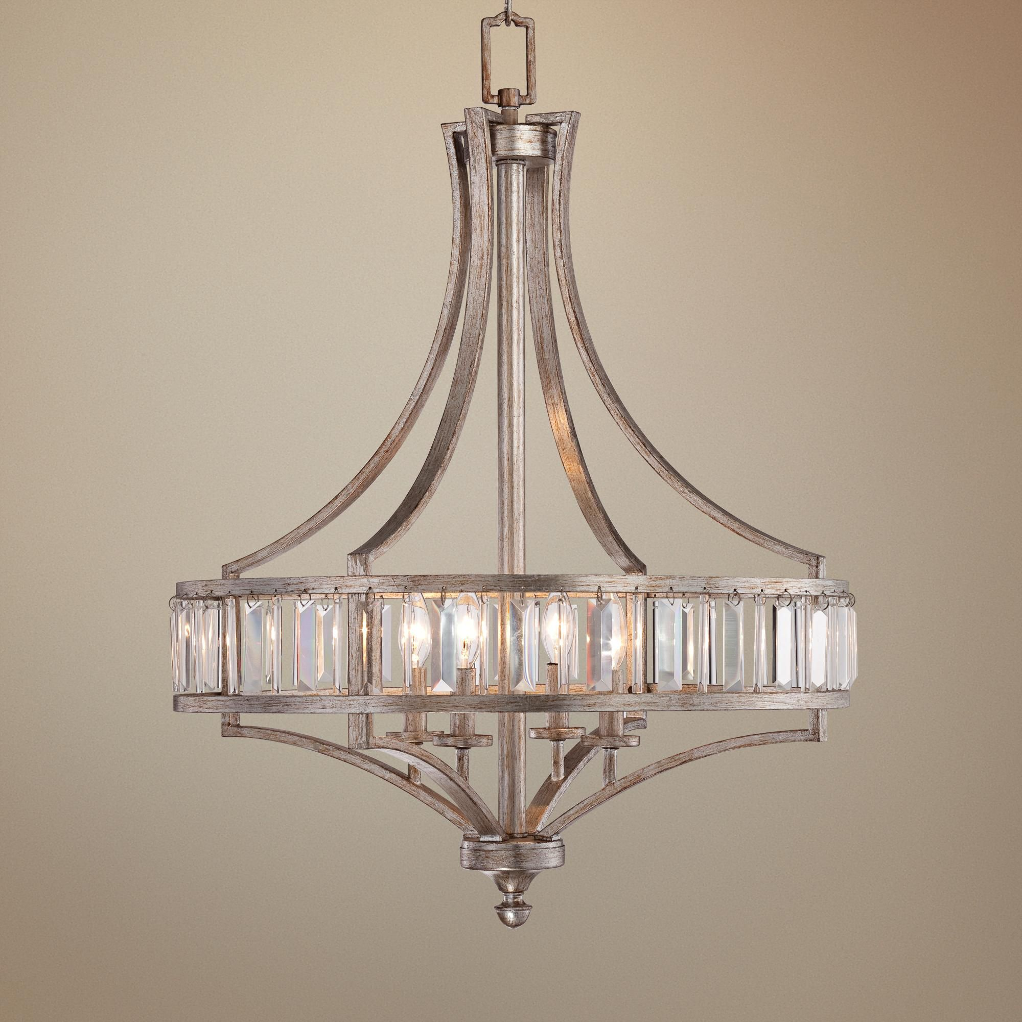 "Soft Silver 4 Light 24"" Wide Crystal Chandelier"