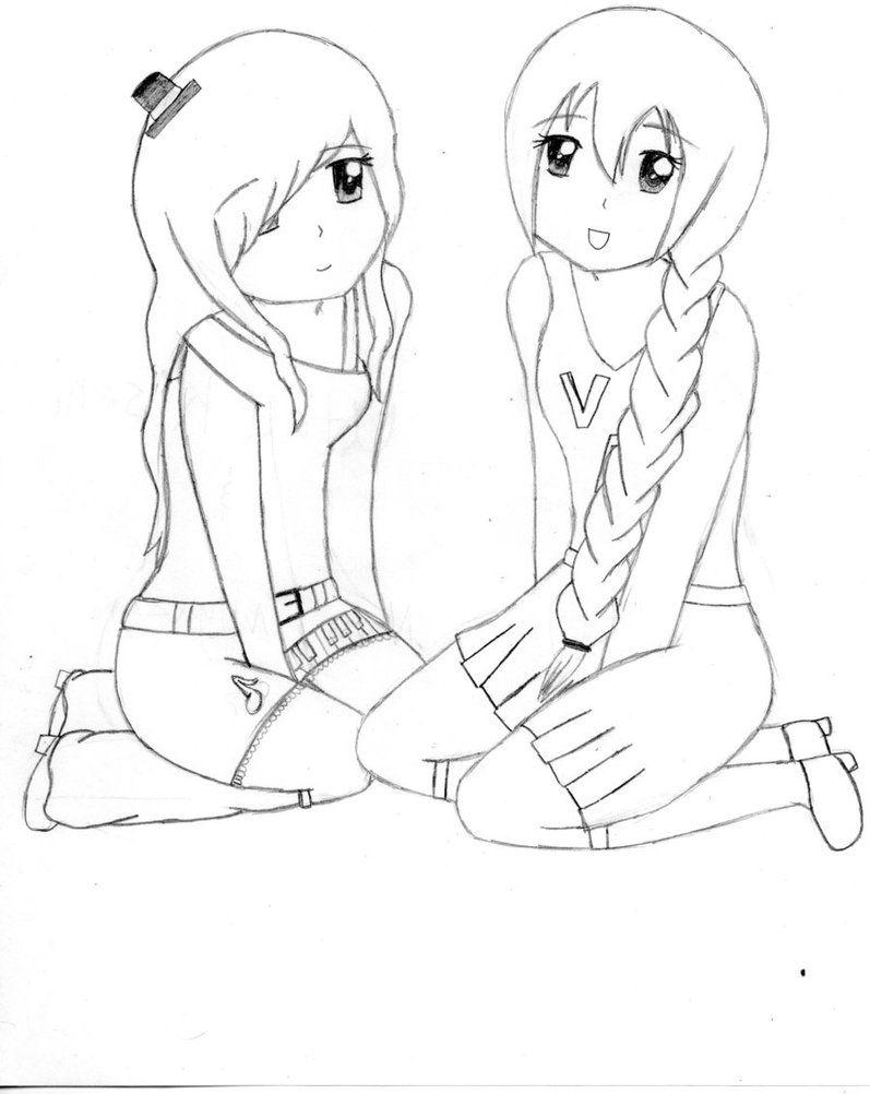Anime Coloring Pages Best Friends (met afbeeldingen) | Tekenen ...