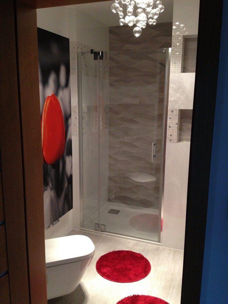 eingemauerte dusche mit glastür und 3d wandfliesen | bad 1 ... - Bw Kleines Bad Dusche Wandverkleidung Ideen