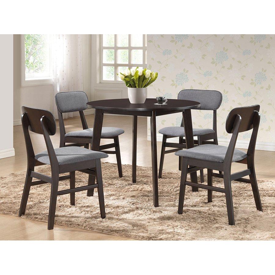 Dark Brown Wood Dining Chair Pair Debbie Round Wood Dining