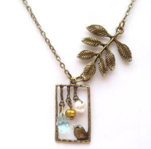 Antiqued Brass Leaf Bird Quartz Pearl Necklace by gemandmetal