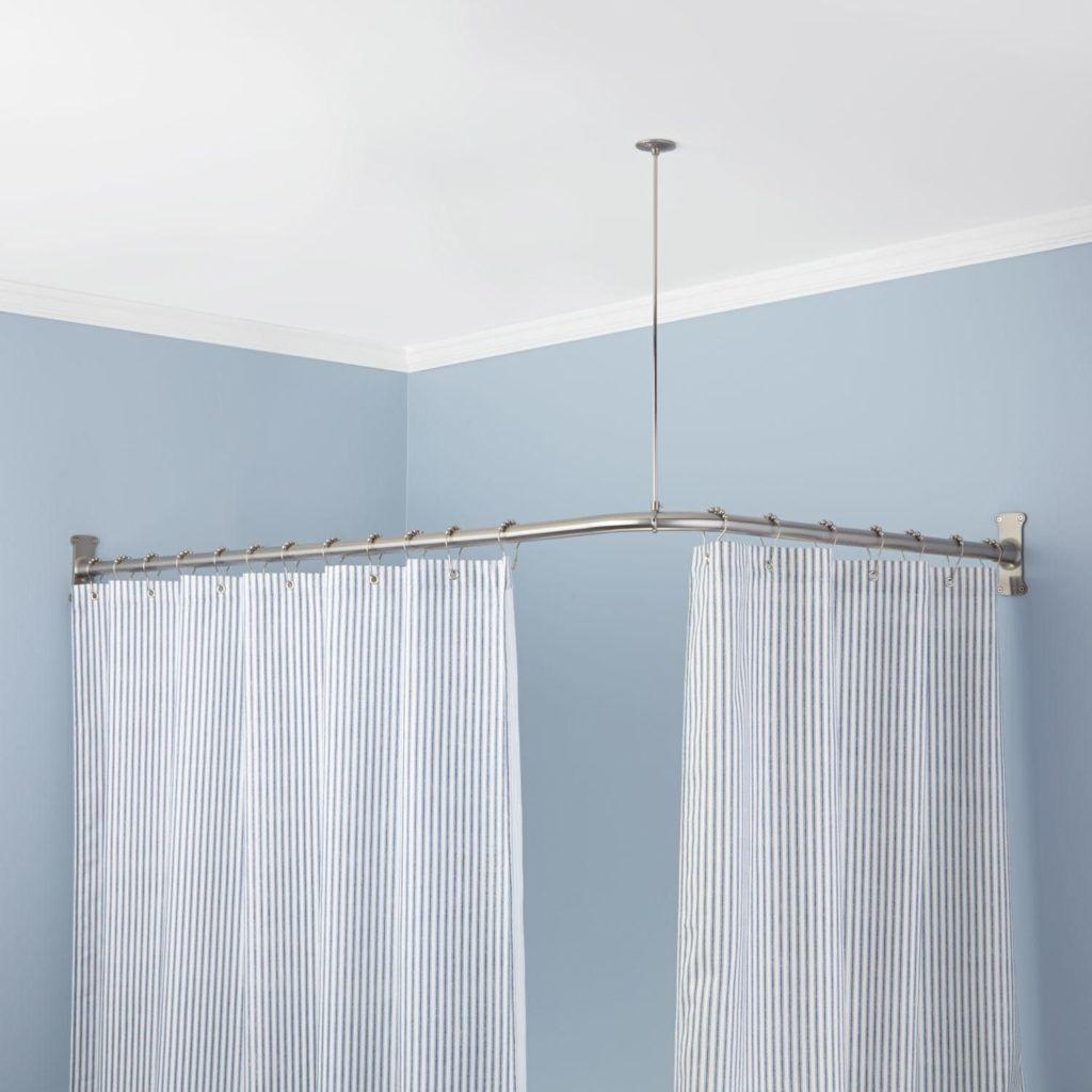 Shower curtain rail corner bathroom ideas pinterest curtain