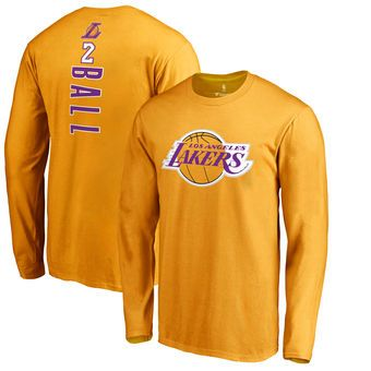 new arrival 13ac2 00245 Lonzo Ball Los Angeles Lakers Gold Long Sleeve T-Shirt ...