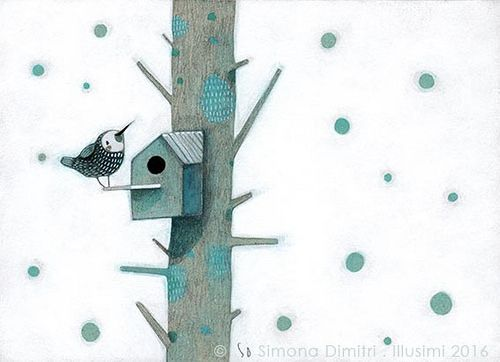 https://flic.kr/p/Pc8etR | my nest / and the white | mixed media on grey cardboard, 15,5x11 cm
