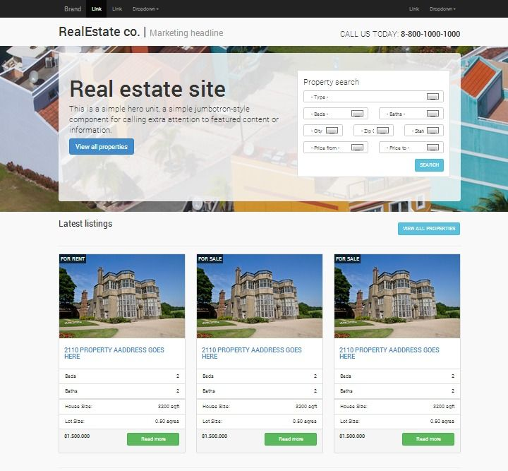 Bootstrap Website Templates Real Estate Responsive Bootstrap Website Templates  Twitter