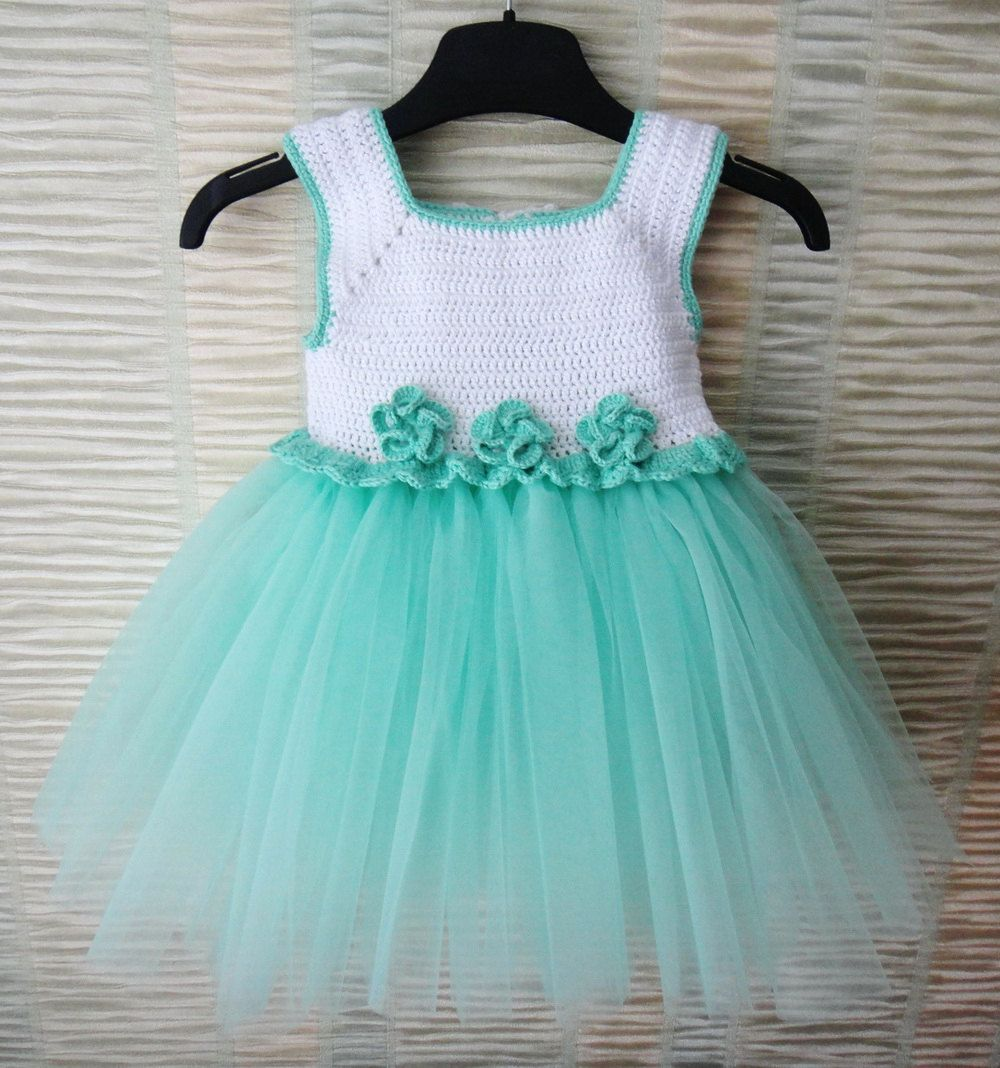 Mint and white Handcrafted Baby Tulle Dress with Crochet Top.Tulle ...