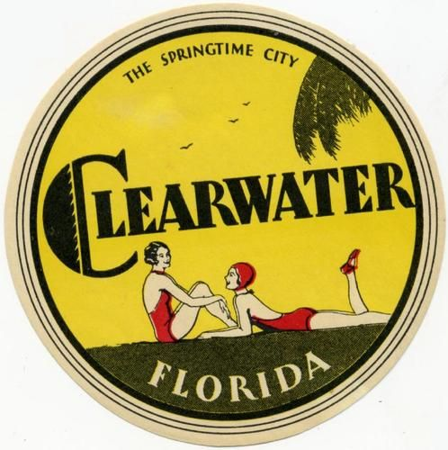 clearwater florida beautiful old art deco luggage label c. Black Bedroom Furniture Sets. Home Design Ideas