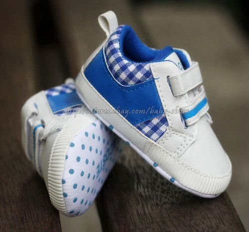 69a6d51f1a3 Lacoste Baby Boy Blue White Soft Sole Crib Shoes Sneaker Size Newborn to 18  Months