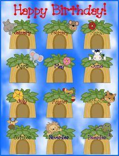 birthday charts for school: Free jungle themed classroom birthday chart monkey decorations