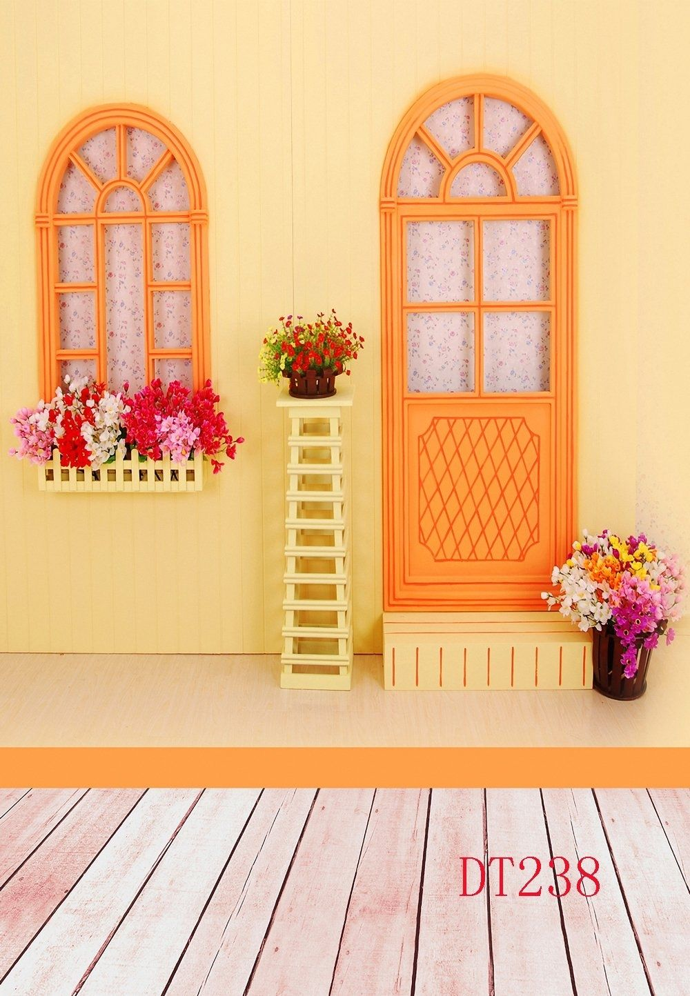 5x7ft Wooden Floor Window Flowers Photography Background Computer-Printed Vinyl Backdrops
