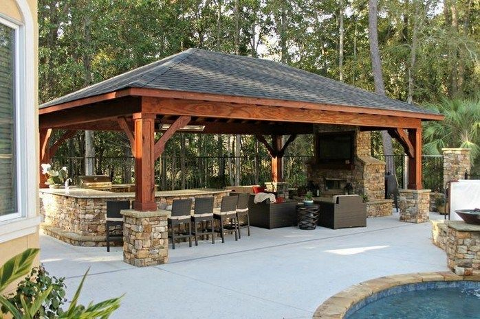 35 Gorgeous Patio Design Ideas For Outdoor Kitchen 22 Backyard Pavilion Patio Design Outdoor Kitchen Patio