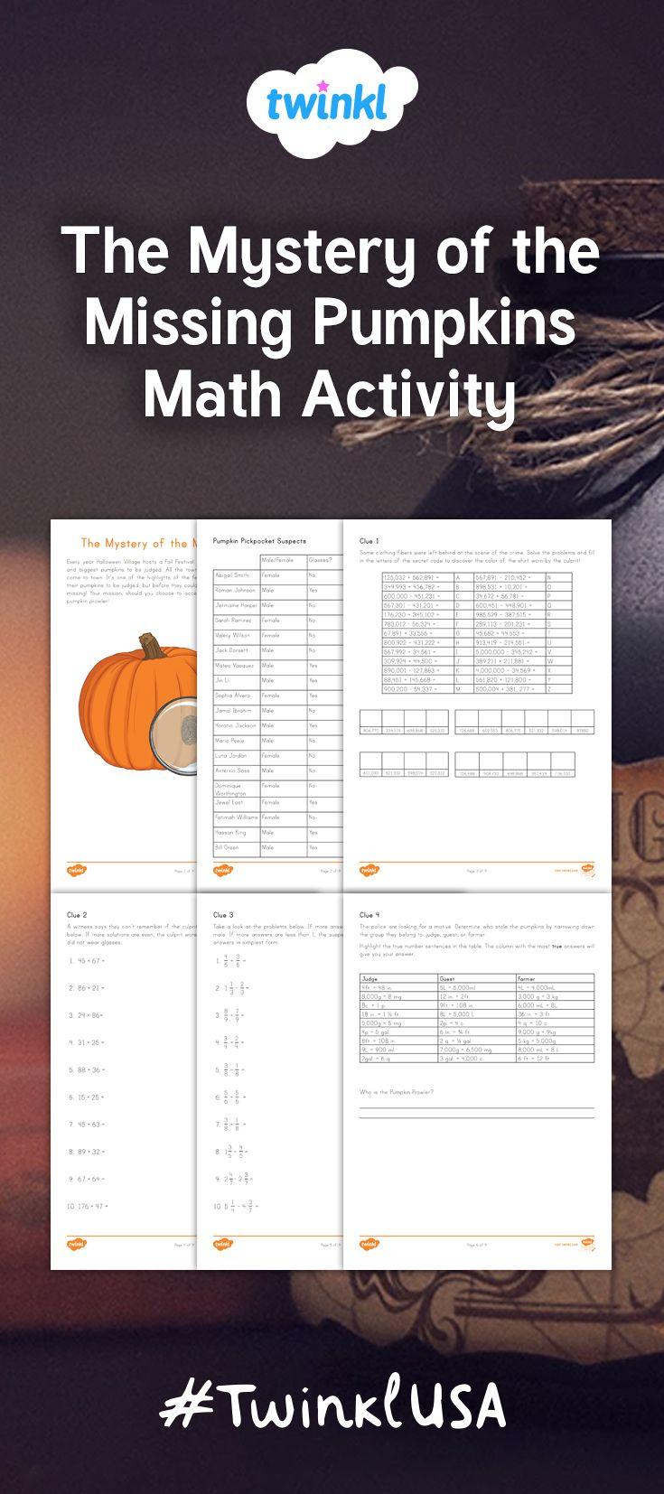 The Mystery Of The Missing Pumpkins Math Project Halloween Teaching Pumpkin Math Activities Math Projects