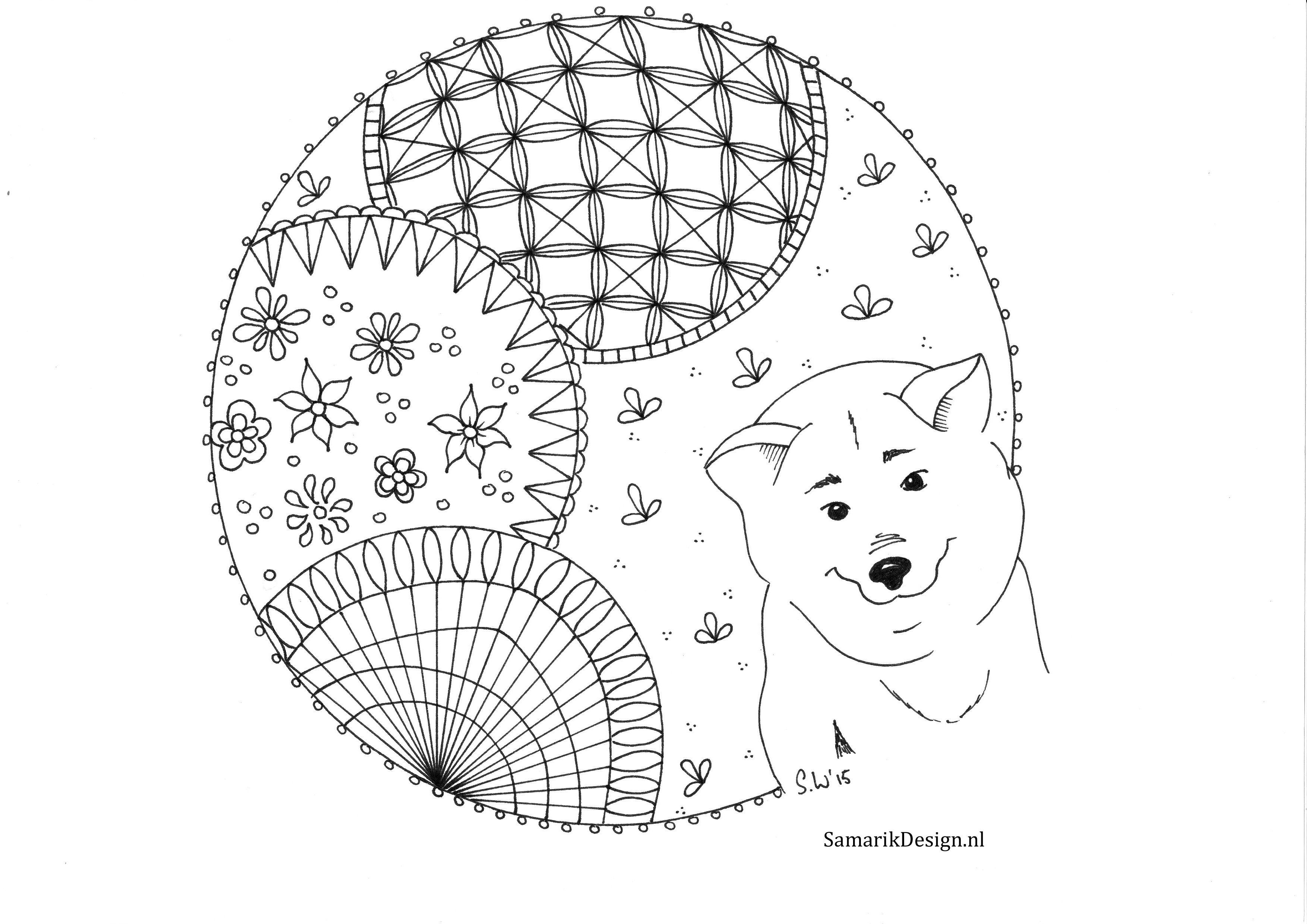 Husky Doodle Kleurplaten