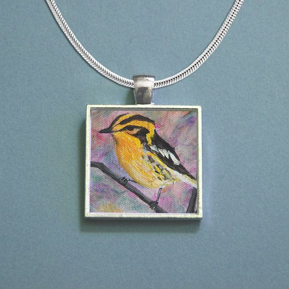 Yellow bird painting turned into a necklace
