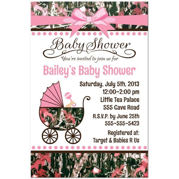 Pink Camo Baby Shower Personalized Invitation