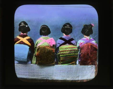 Backs of four seated girls :: Japanese Lantern Slides (Dominican University)1880 Tasukigaka