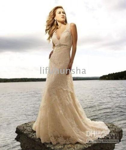 GROGEOUS Champagne Lace Wedding Dress/Bridal*Customized | Wedding ...