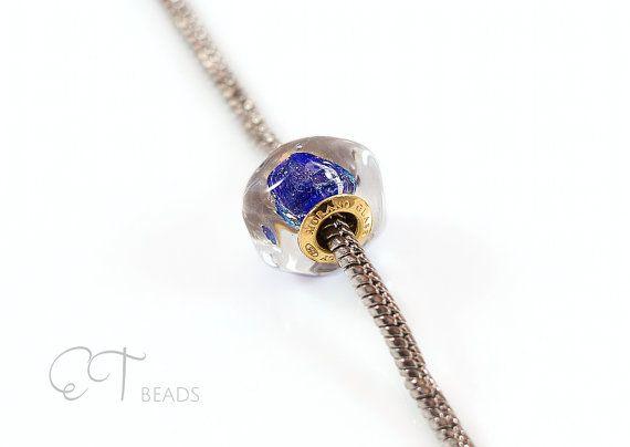 Royal blu vetro di Murano fascino  fascino di EThandmadeshop