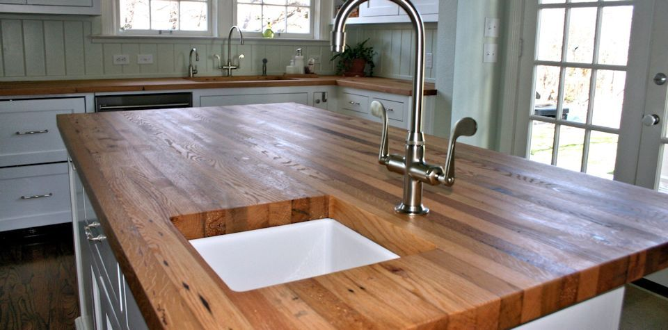 Reclaimed White Oak Wood Island Countertop | Outdoor kitchen ...